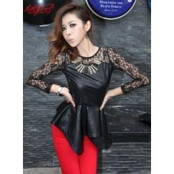 Сексуальная черная комбинированная кружевом блуза с асимметричной кромкой