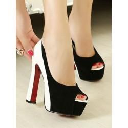 Элегантные комбинированные туфли на платформе