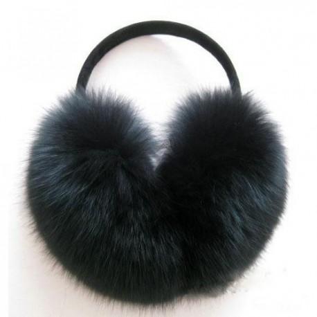 Наушники с мехом кролика черные