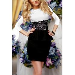 Платье-баска с гипюром длинный рукав