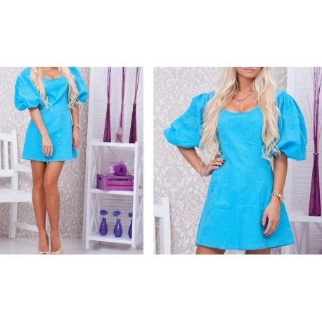 Платье Пышный рукав голубое