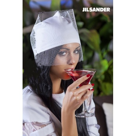 Шапка с вуалью Jil Sander белая