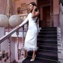 Платье на одно плечо низ перья 11144