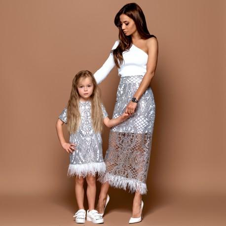 Детское платье Family Look с перьями страуса 11231