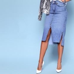 Джинсовая юбка с разрезами 5015-0