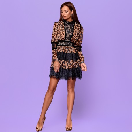 """Шифоновое платье """"леопард"""" 5847"""