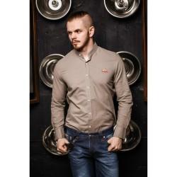 Рубашка бежевая приталенная 7034