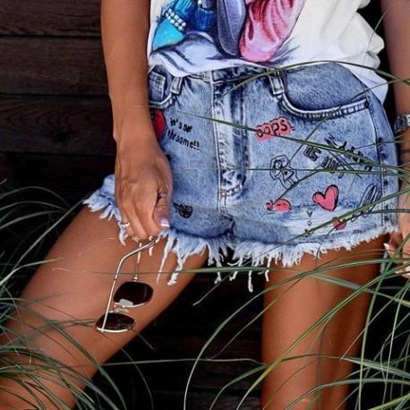 Джинсовые шорты с сердечками 4438-0