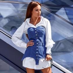 Платье-рубашка с джинсовым корсетом 11368