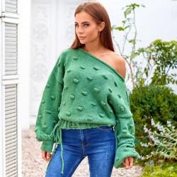 Объемный свитер с горловиной лодочка 211565