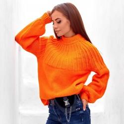 Вязанный свободный свитер 211570