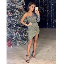 Мерцающее асимметричное платье 11423
