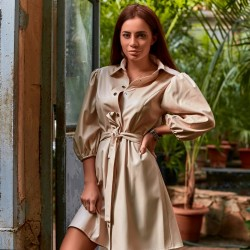 Свободное платье из экокожи 11459