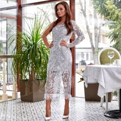 Элегантное платье на одну руку с узором из пайеток 11275