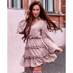 Платье в оборках горох 2741