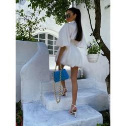 Платье в стиле Celine с воздушными рукавами и пышной юбкой