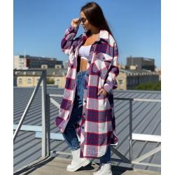 Удлиненная рубашка-пальто в клетку 7003-0