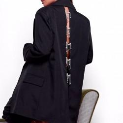 Пиджак oversize со стразами с вырезом на спине 11686