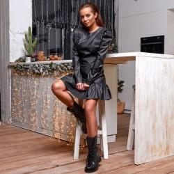 Эпатажное кожаное мини-платье 11500